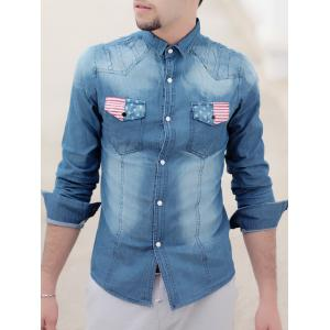 Turn-Down Collar Bleach Wash Flag Print Long Sleeve Pocket Men's Denim Shirt - Light Blue - Xl