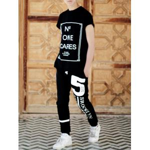 Beam Feet Hot Sale Letters Number Star Print Loose Fit Men's Lace-Up Sweatpants -