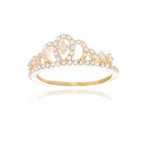 Rhinestoned Crown Hollow Out Ring