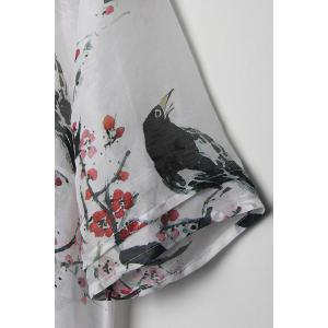 Linen-Blend Bird Print A-Line Dress -