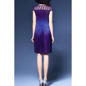 Pleated Lace Spliced Dress -