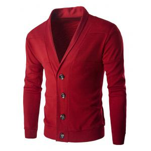 Slim Fit Shawl Collar Button Up Cardigan - Red - M