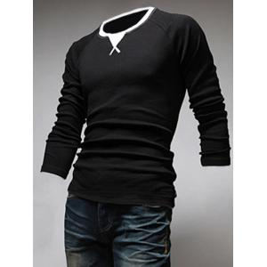 Classic Color Block Triangle Pattern Slimming Round Neck Long Sleeves Men's Linen Blended T-Shirt -