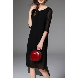 Uneven Hem Pure Color Chiffon Dress -