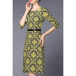 Floral Print Knee Length A Line Dress -