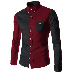 Color Block Pocket Button Down Casual Shirt - Red With Black - L