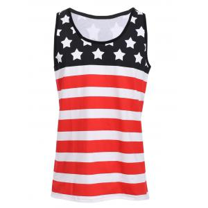 Sports Round Neck Stripes Star Print Color Block Tank Top For Men