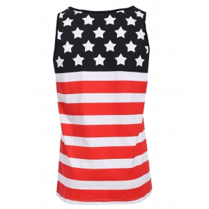 Sports Round Neck Stripes Star Print Color Block Tank Top For Men - COLORMIX S