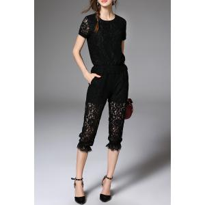 Lace T-Shirt and Capri Pants Suit -