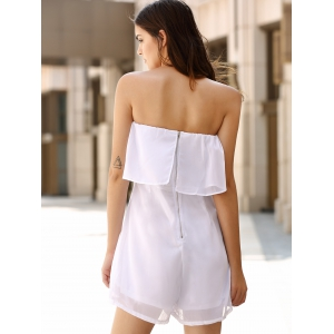 Chic Women's Strapless Pure Color Romper -