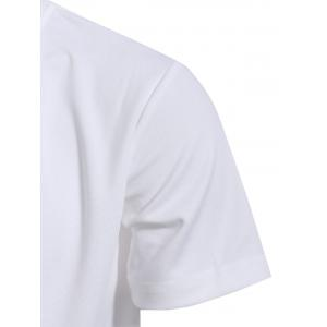 Zipper Fly Front Pocket Hooded White Short Sleeve Hoodie - WHITE M