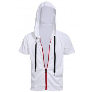 Zipper Fly Front Pocket Hooded White Short Sleeve Hoodie - White - Xl
