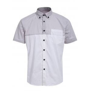Fashion Shirt Collar One Pocket Color Block Short Sleeves Button-Down Shirt For Men