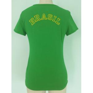 Stylish U Neck Short Sleeve Flag of Brazil Pattern T-Shirt For Women - GREEN L