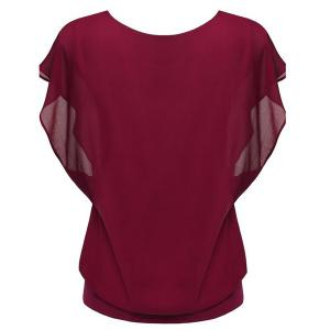 Simple Style Women's Bat Sleeve Round Neck Pure Color Chiffon Spliced T-Shirt -