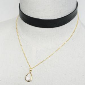 Water Drop Doublelayer Faux Crystal Choker Necklace - GOLDEN