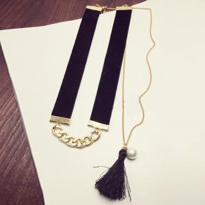 Doublelayer Tassel Faux Pearl Choker Necklace - GOLDEN