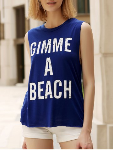 Cheap Round Collar Letter Tank Top
