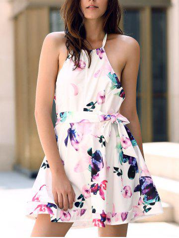 Shop Fashionable Halter Sleeveless Floral Print Backless Women's Dress