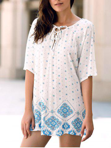Trendy Casual Jewel Neck Batwing Sleeve Flower Print High Low T-Shirt For Women