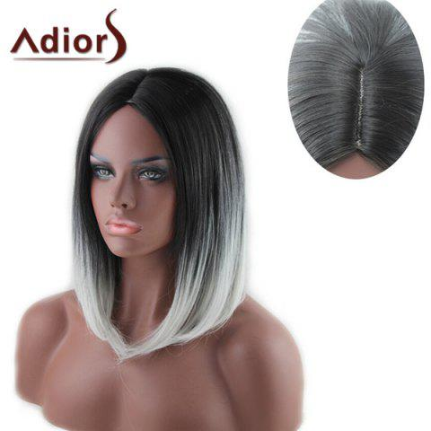 Shop Stylish Medium Black Ombre White Capelss Straight Centre Parting Synthetic Adiors Wig For Women OMBRE