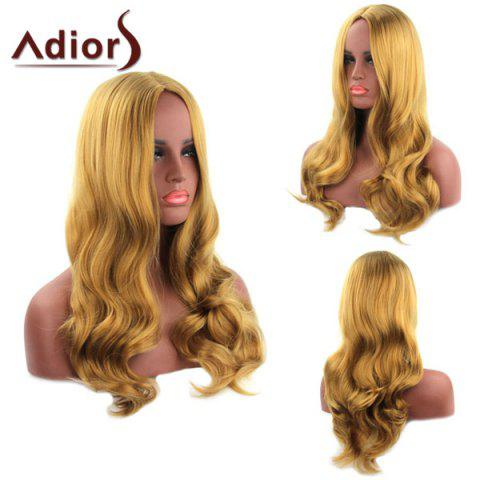 Outfit Fashion Long Blonde Mixed Centre Parting Wavy Heat Resistant Synthetic Adiors Wig For Women