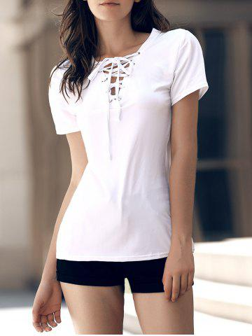 Unique Stylish V-Neck Short Sleeves Lace-Up T-Shirt For Women