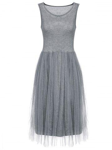 Refreshing Sleeveless Scoop Neck Voile Splice Women's Dress - Gray - One Size(fit Size Xs To M)