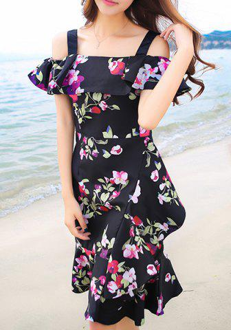 Outfit Sweet Off-The-Shoulder Floral Print Women's Dress