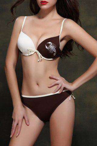 Hot Active Spaghetti Strap Scorpion Pattern Women's Bikini Set