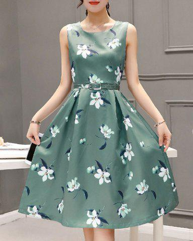 Outfits Sweet Style Round Neck Sleeveless Floral Print Zippered Women's Dress