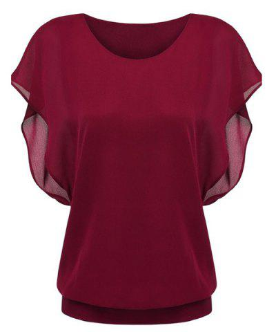 Buy Simple Style Women's Bat Sleeve Round Neck Pure Color Chiffon Spliced T-Shirt