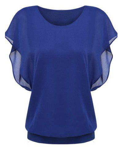 Discount Simple Style Women's Bat Sleeve Round Neck Pure Color Chiffon Spliced T-Shirt