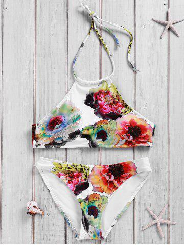 Simple Style Women's Backless Halter Floral Print Bikini Suit - White - M