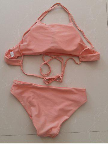 Outfits Simple Style Women's Pink Halter Bikini Set - M PINK Mobile