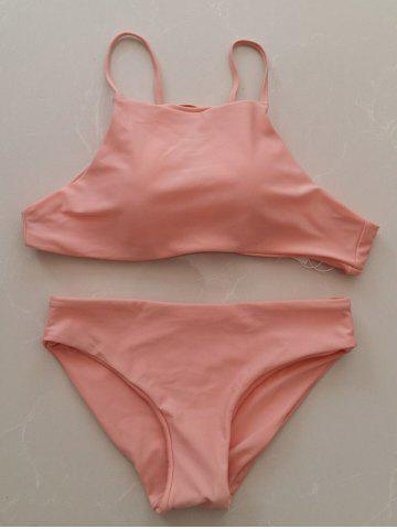 Unique Simple Style Women's Pink Halter Bikini Set