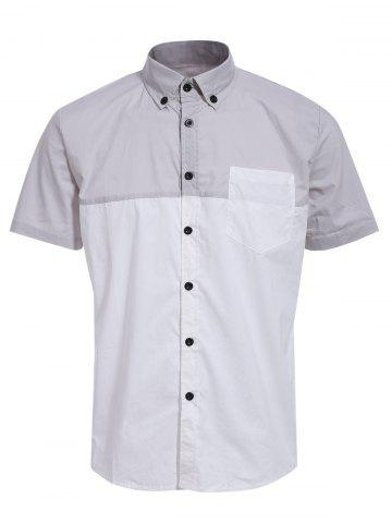 Latest Fashion Shirt Collar One Pocket Color Block Short Sleeves Button-Down Shirt For Men