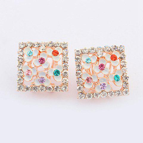 Fashion Pair of Alloy Rhinestone Clover Stud Earrings
