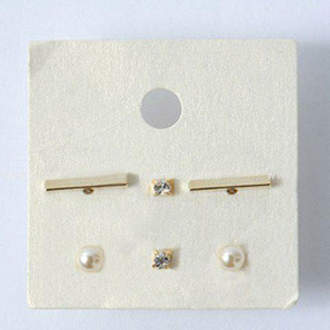 Online 3 Pairs Chic Faux Pearl Rhinestone Rectangle Stud Earrings For Women