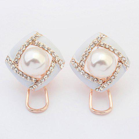 Unique Pair of Square Faux Pearl Hollow Out Earrings