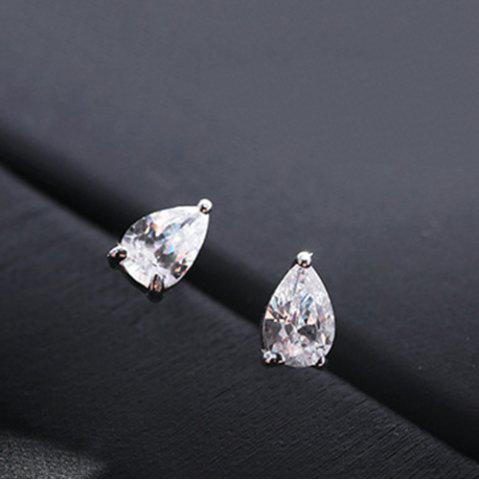 Sale Pair of Chic Rhinestoned Water Drop Stud Earrings For Women
