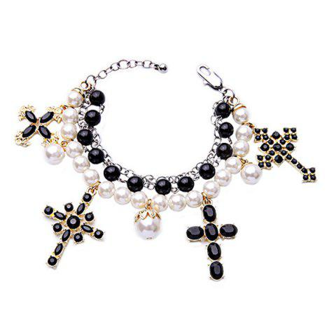 Buy Vintage Multilayered Faux Pearl Cross Bracelet