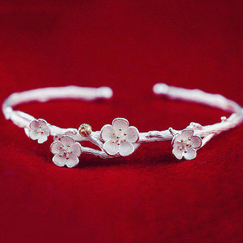 Affordable Carving Wintersweet Opening Bracelet