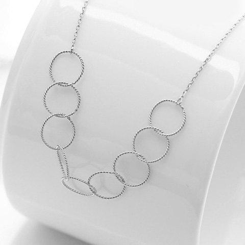 Affordable Chic Silver Interlink Circle Necklace For Women