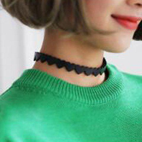 Faux Leather Heart Shape Choker Necklace - Black