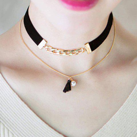 Online Doublelayer Tassel Faux Pearl Choker Necklace GOLDEN