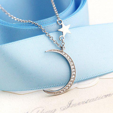 Outfits Moon Pentagram Rhinestoned Pendant Necklace SILVER