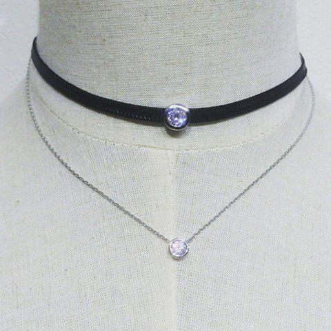 Double Layer Rhinestone Chain Choker Necklace - Silver