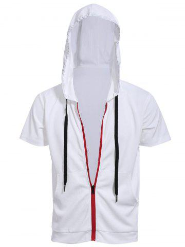Online Zipper Fly Front Pocket Hooded White Short Sleeve Hoodie WHITE M