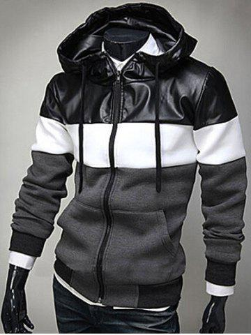 Online PU Leather Spliced Color Block Hooded Long Sleeves Hoodie For Men